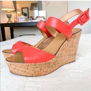 J. Crew Coral Sandal with Cork Wedge